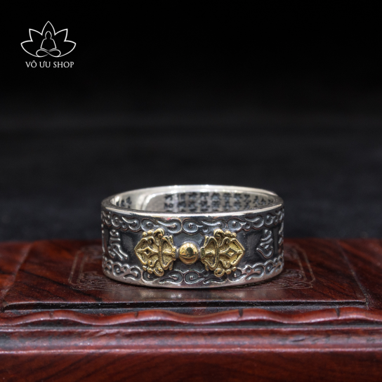 Silver ring engraved vajra and Heart Sutra