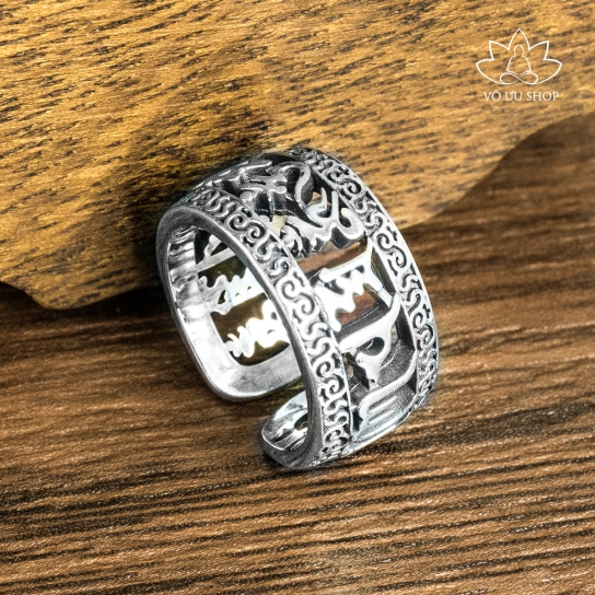 Silver ring engraved Om Mani Padme  Hum